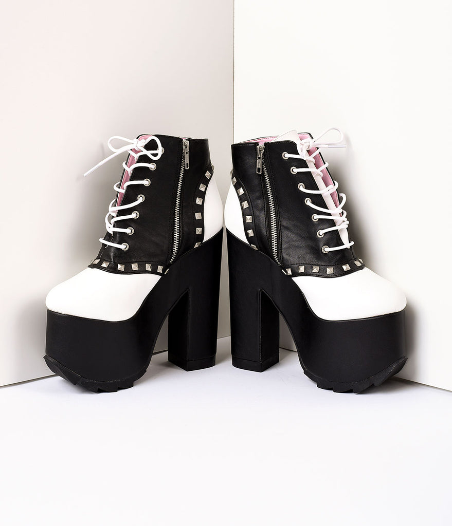 Black & White Saddle Punk Platform Heels