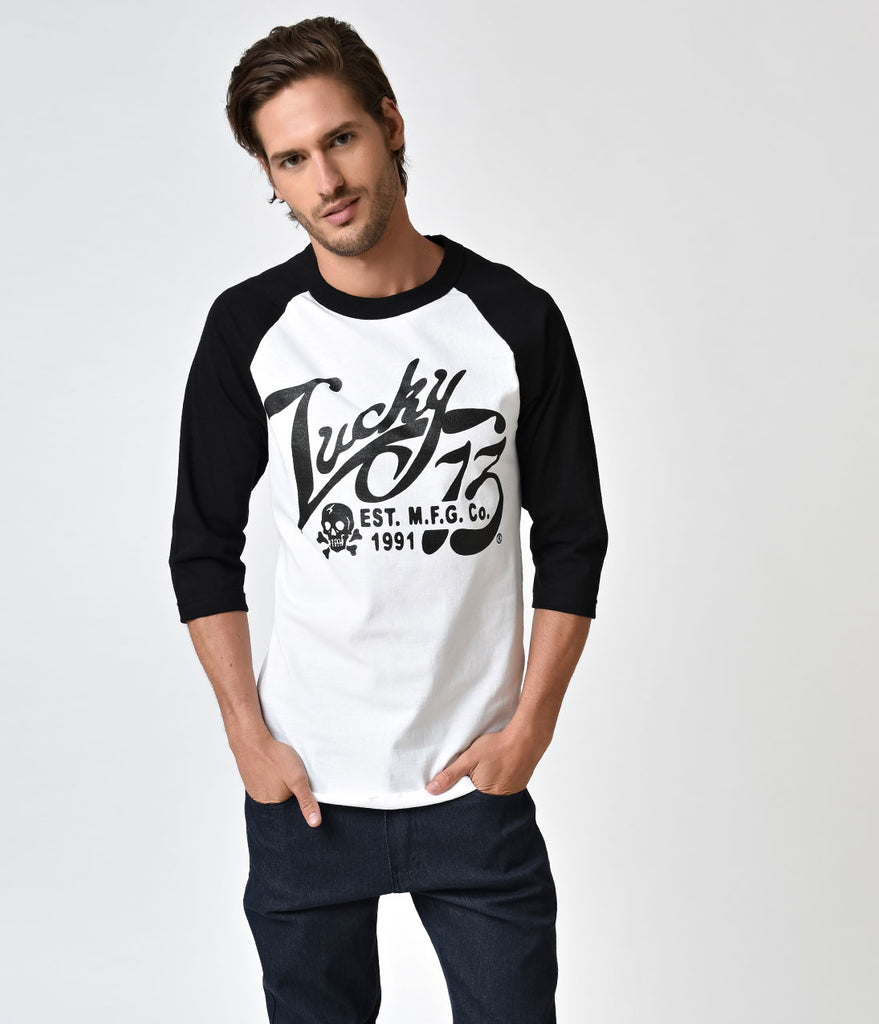 Black & White The Old Time Three-Quarter Sleeve Raglan Tee