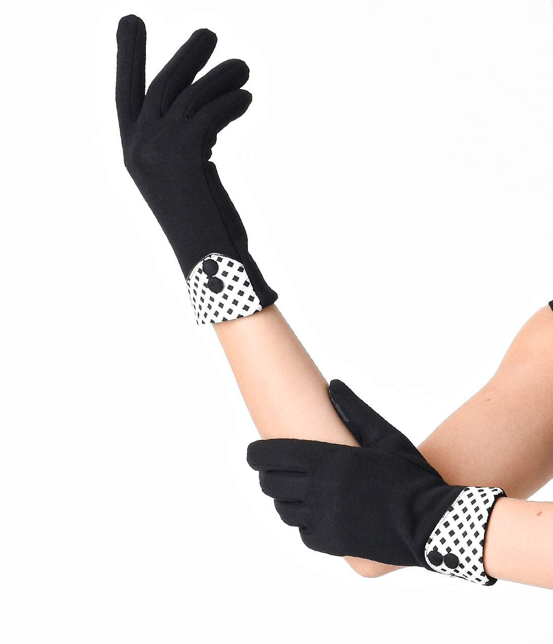 Vintage Gloves – Styles from 1900 to 1960s Black Wrist Length Button Gingham Texting Gloves $18.00 AT vintagedancer.com