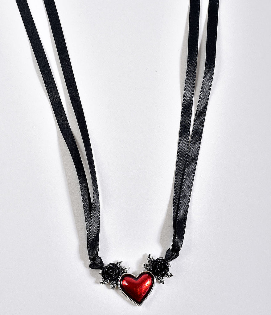 Blood Red Heart & Black Roses Ribbon Necklace