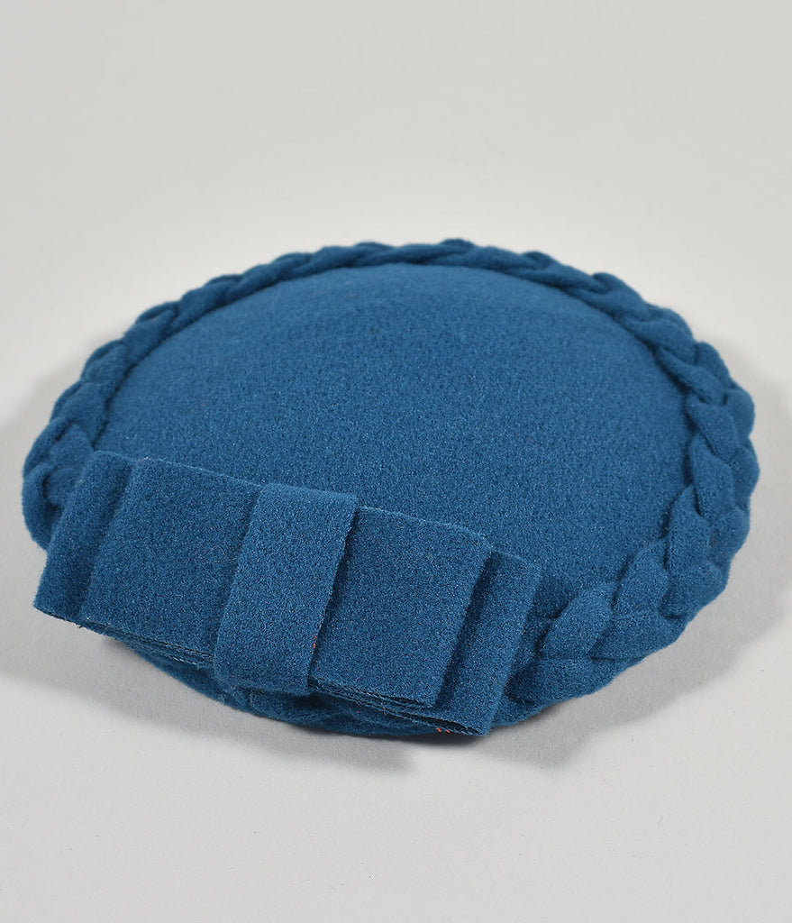 Blue Braided Felt Fascinator