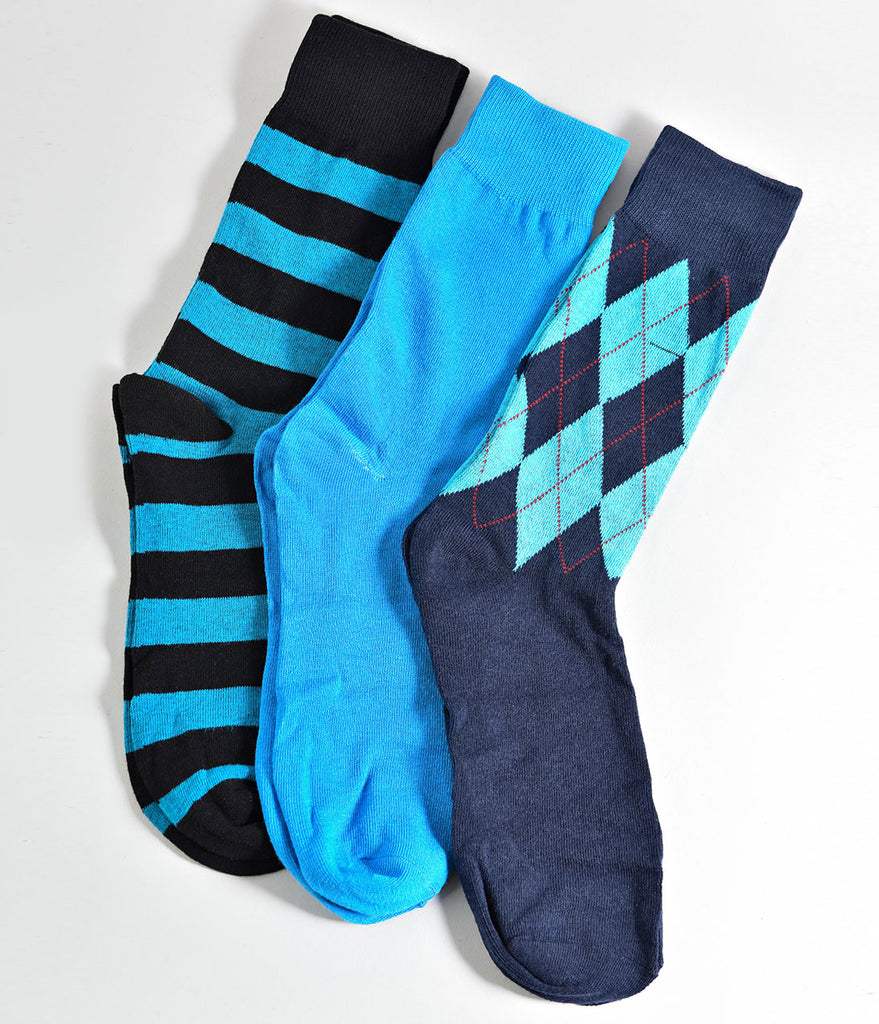Blue Multicolor Mens Dress Casual Socks Set