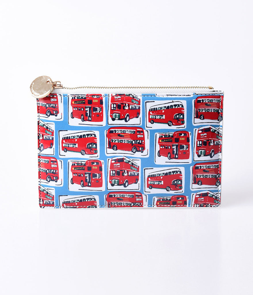 Blue & Red London Bus Patent Leather Clutch