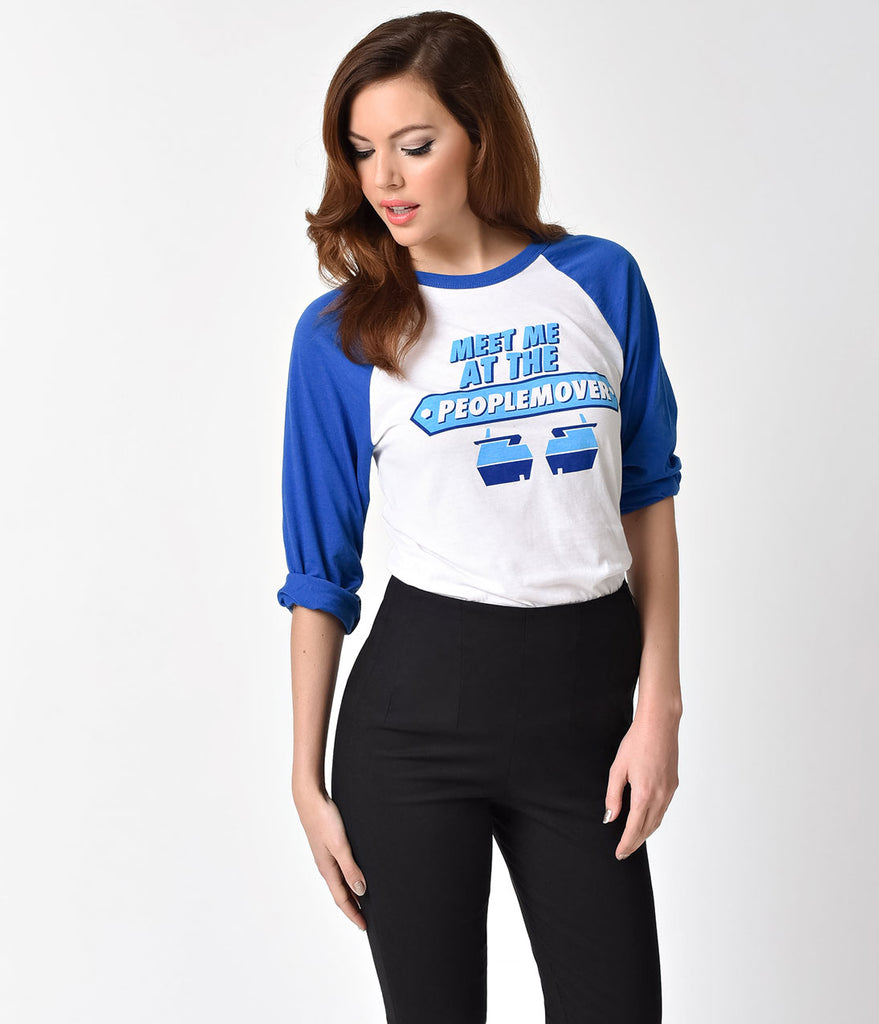 The Main Street Press Blue & White Three-Quarter Sleeve People Mover Raglan Tee