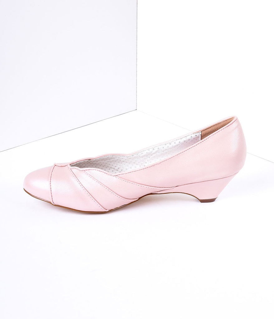 Blush Pink Faux Leather Scalloped Kitten Heel