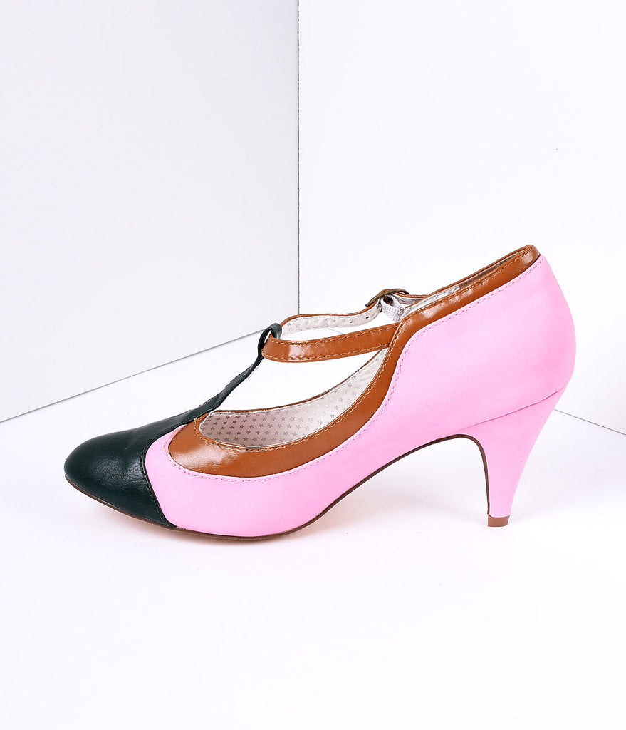 Blush Pink Tricolor Leatherette T-Strap Pumps