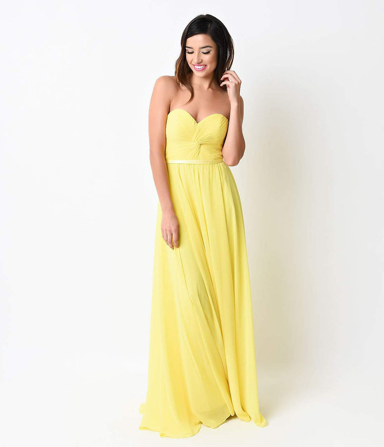Bright Yellow Chiffon Strapless Sweetheart Corset Long Gown