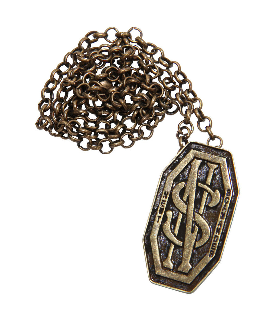 Antique Brass Newt Scamander Monogram Pin & Pendant