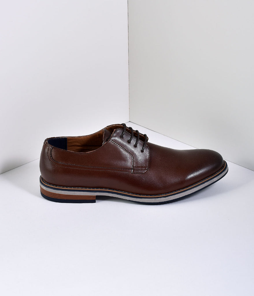 Brown Leatherette Lace Up Dress Oxfords Mens Shoes