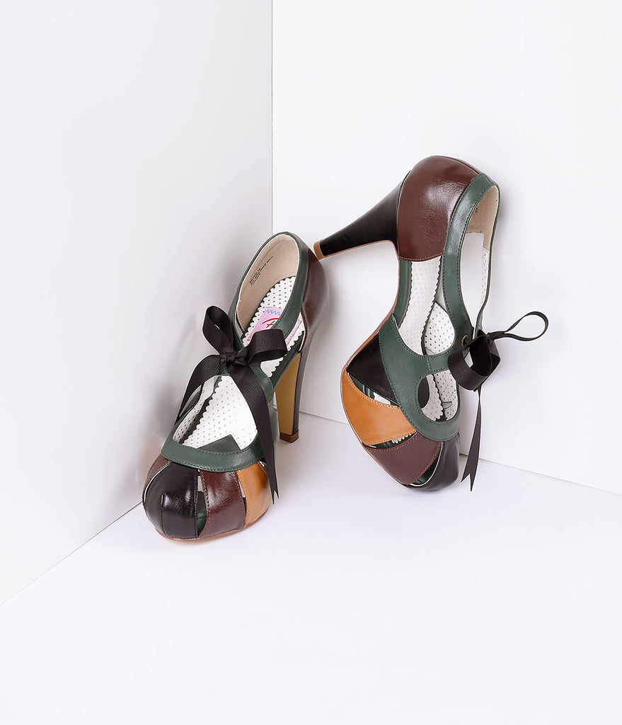 Brown Multicolor Faux Leather Platform Heel