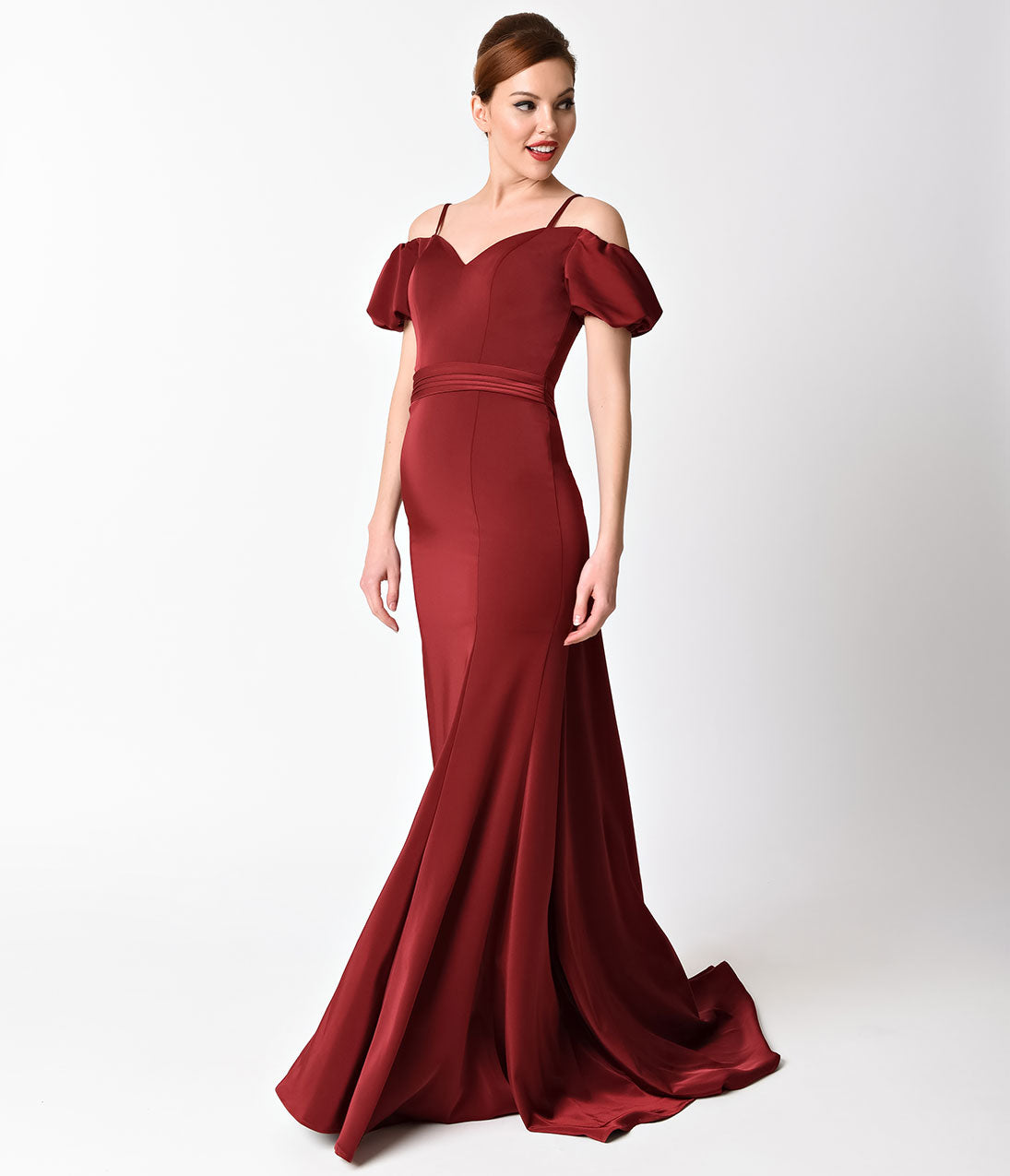 1930s Evening Dresses | Old Hollywood Dress Burgundy Off The Shoulder Lace Back Gown $201.00 AT vintagedancer.com