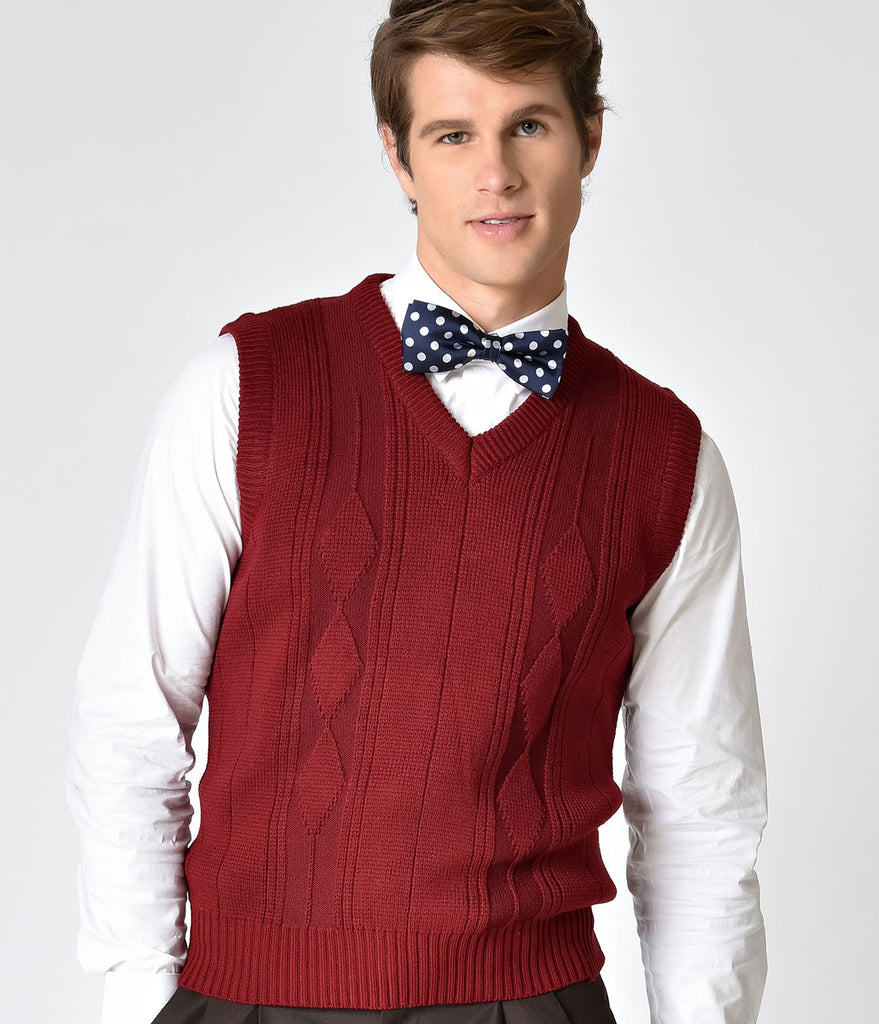 Red Knit Pullover Vest Mens Burgundy Sleeveless Fl3TK1Jc