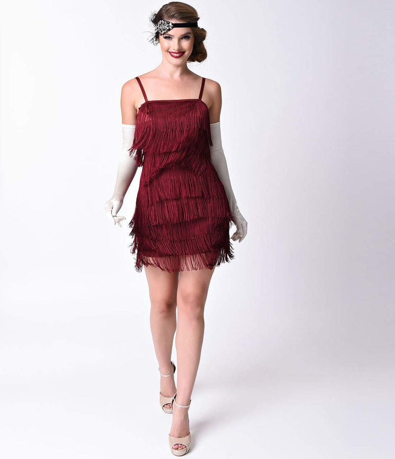 Unique Vintage Burgundy Speakeasy Tiered Fringe Flapper Dress