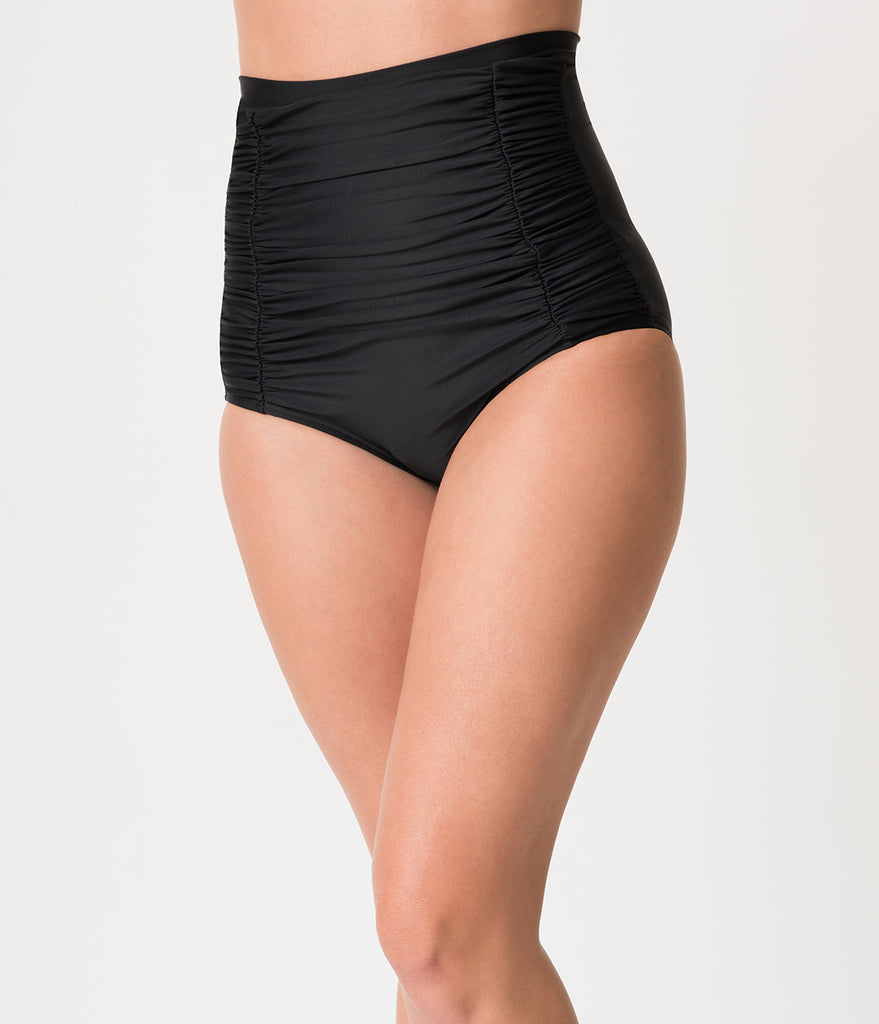 Unique Vintage All Black Monroe High Waist Bikini Bottom