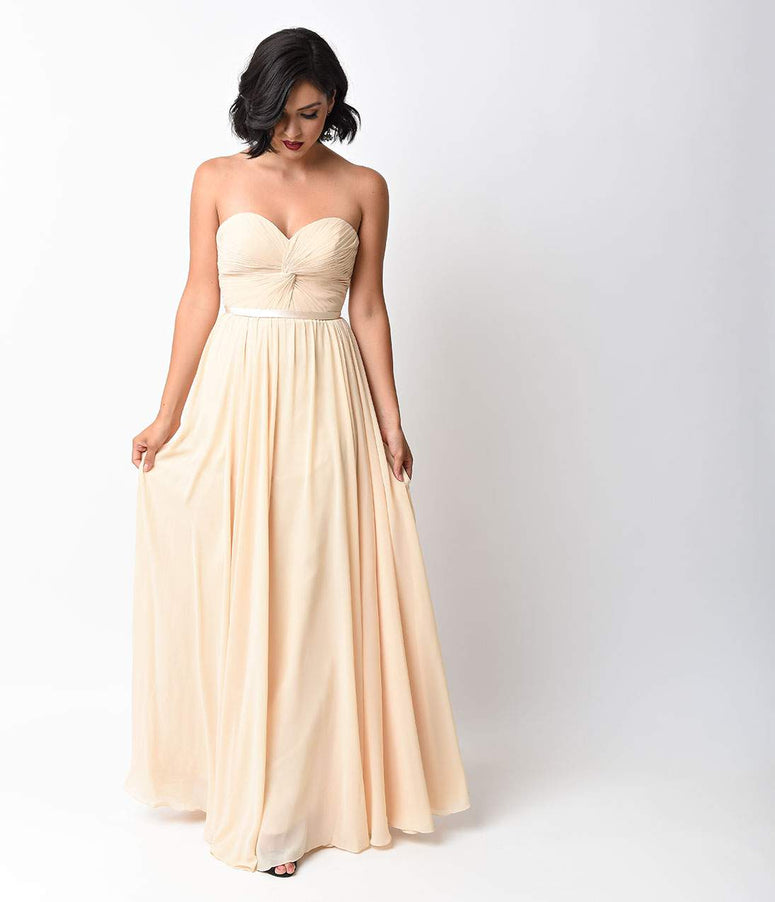 Champagne Chiffon Strapless Sweetheart Corset Long Gown