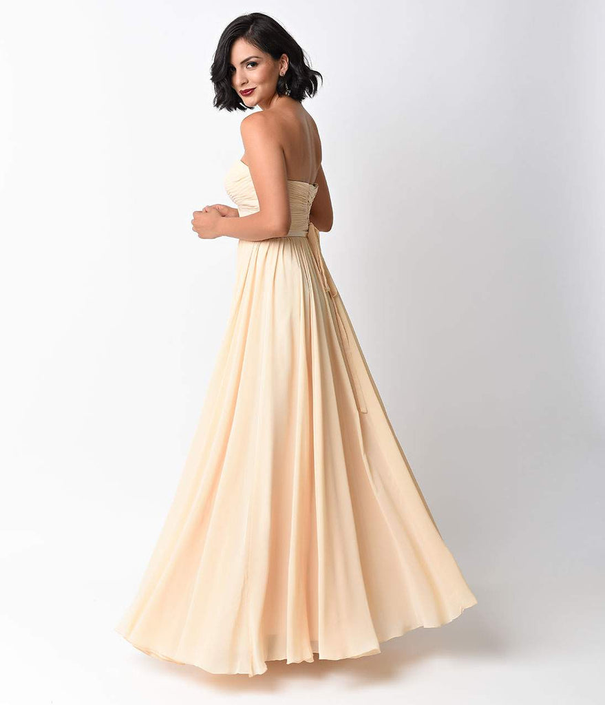 Prom Chiffon Strapless Sweetheart Gown