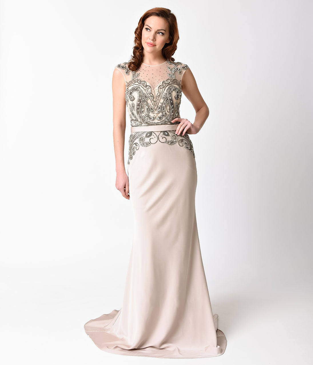 1940s Evening, Prom, Party, Cocktail Dresses & Ball Gowns Champagne Embellished Sheer Illusion Long Dress $301.00 AT vintagedancer.com