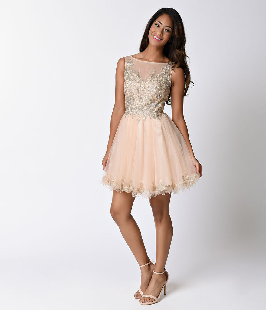 Champagne Pink Sheer Embellished Tulle Short Dress