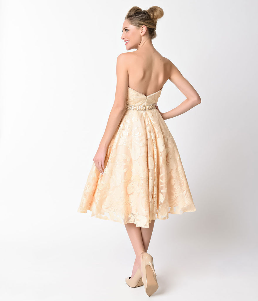 Champagne Strapless Sweetheart Sequined Short Dress