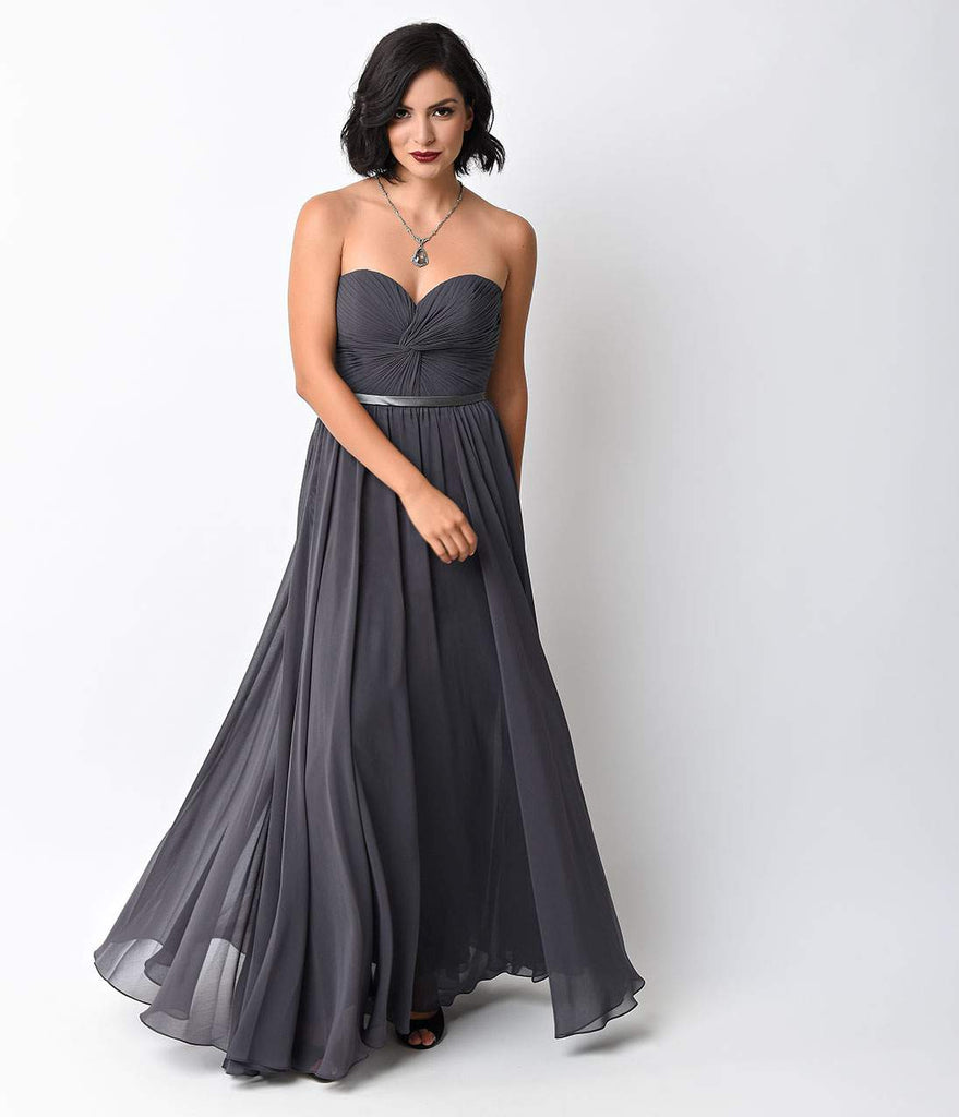 Charcoal Chiffon Strapless Sweetheart Corset Long Gown