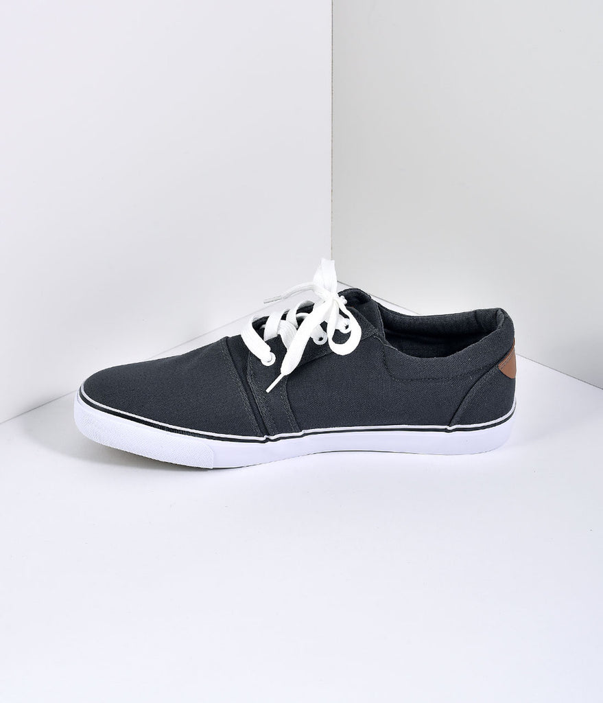 Charcoal Grey Lace Up Slip On Mens Casual Shoes