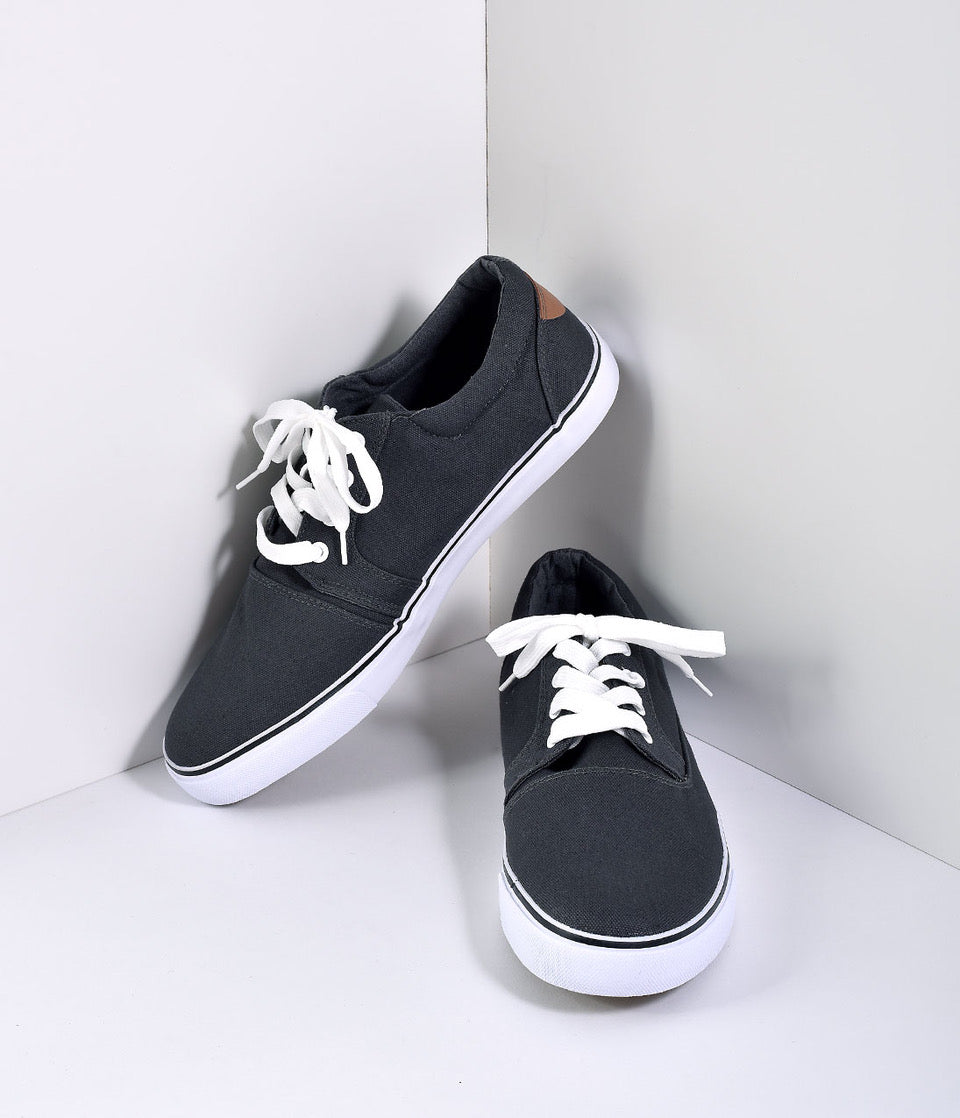 Pin Up Shoes- Heels & Flats Charcoal Grey Lace Up Slip On Mens Casual Shoes $32.00 AT vintagedancer.com