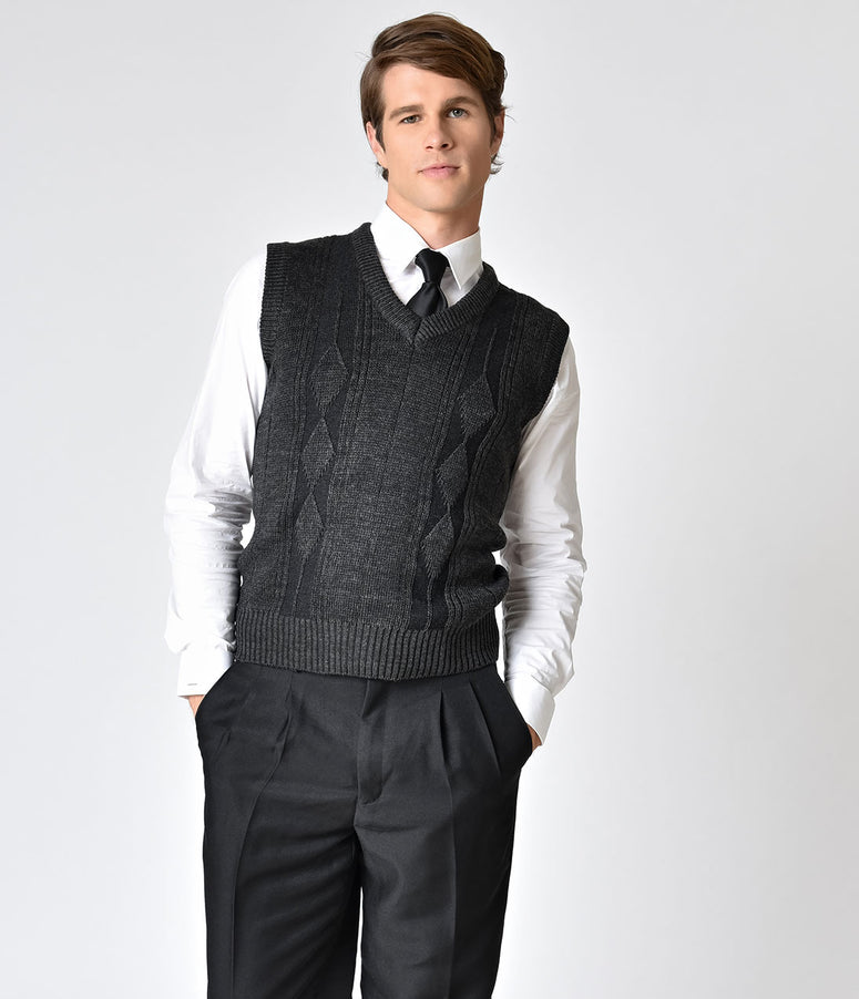Charcoal Grey Sleeveless Mens Pullover Knit Vest