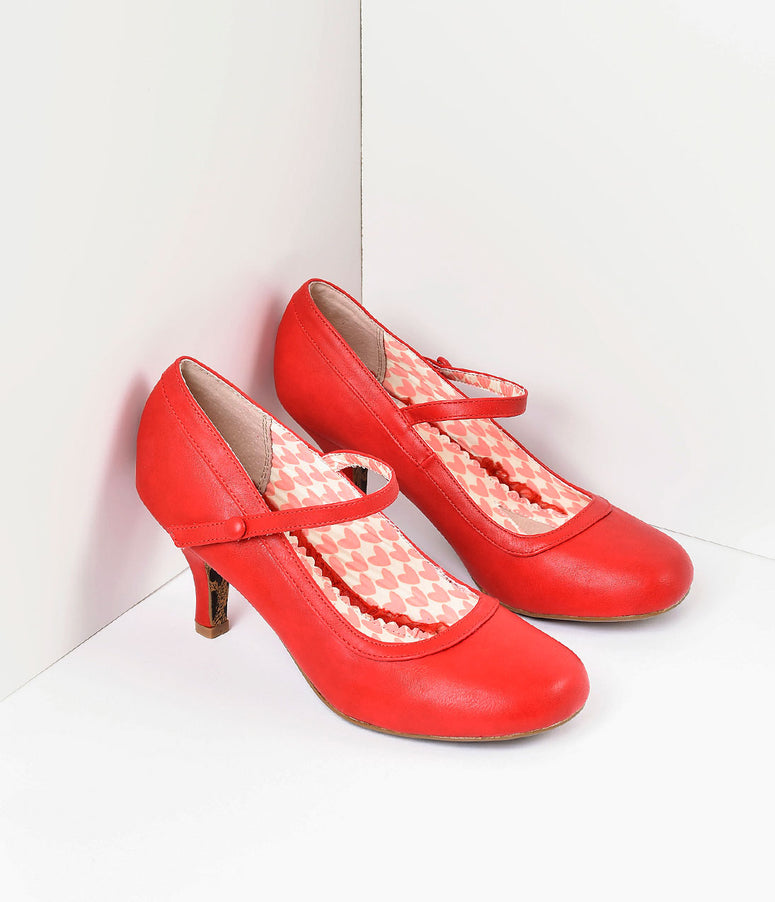 Bettie Page Cherry Red Leatherette Bettie Retro Mary Jane Heels