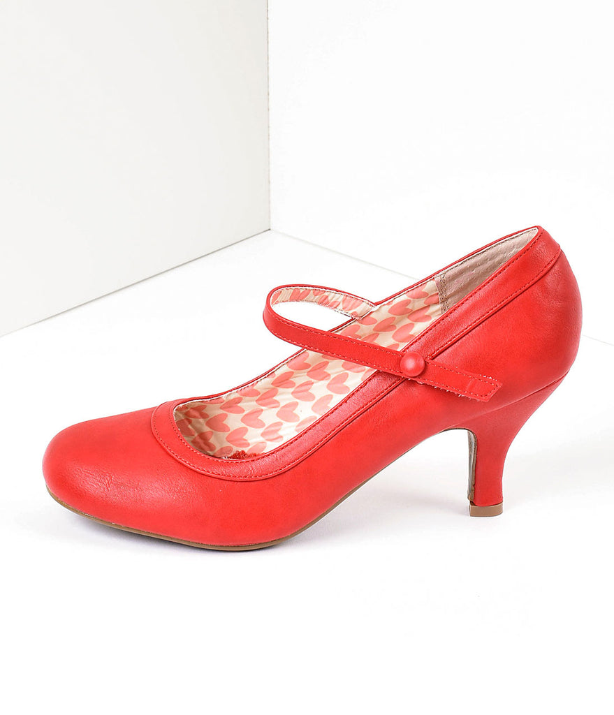cce28c6698241 Bettie Page Cherry Red Leatherette Bettie Retro Mary Jane Heels
