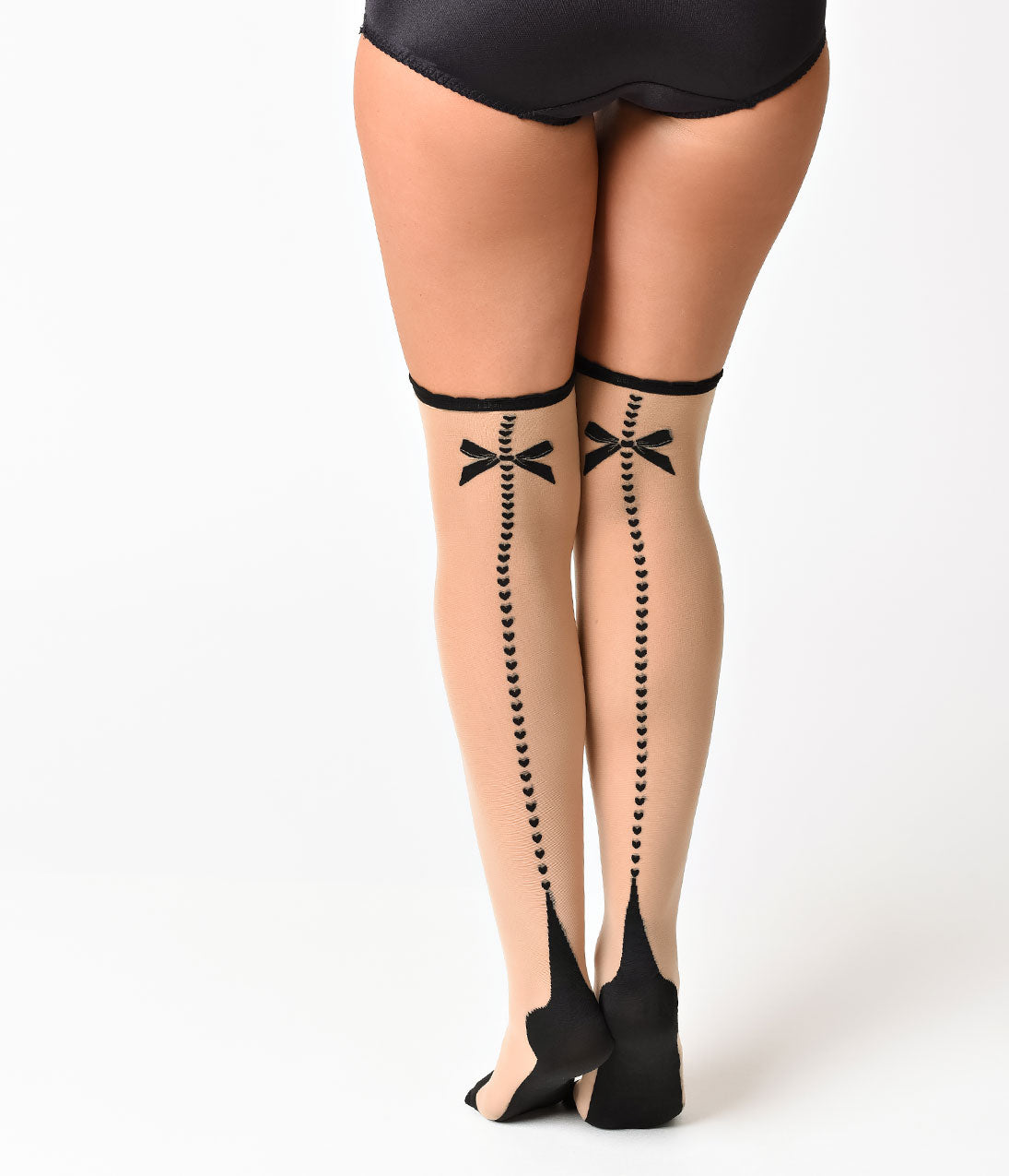 Seamed Stockings, Nylons, Tights Classic Cuban Heart  Bow Backseam Stockings $12.00 AT vintagedancer.com