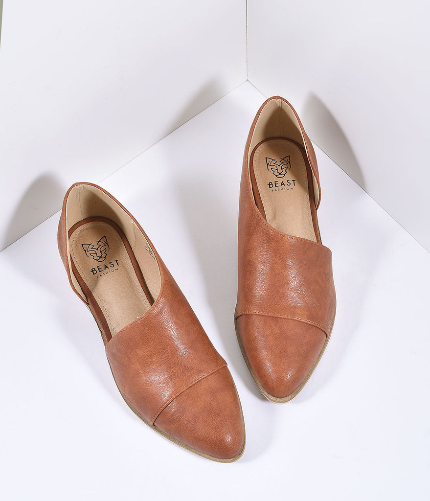 Cognac Brown Slip On Flat Boots