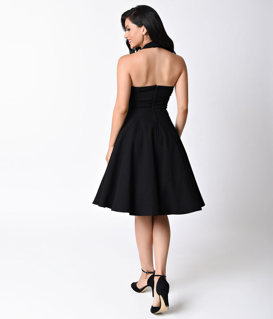 0331cdf610b ... Unique Vintage 1950s Style Black Criss Cross Halter Flare Rita Dress ...