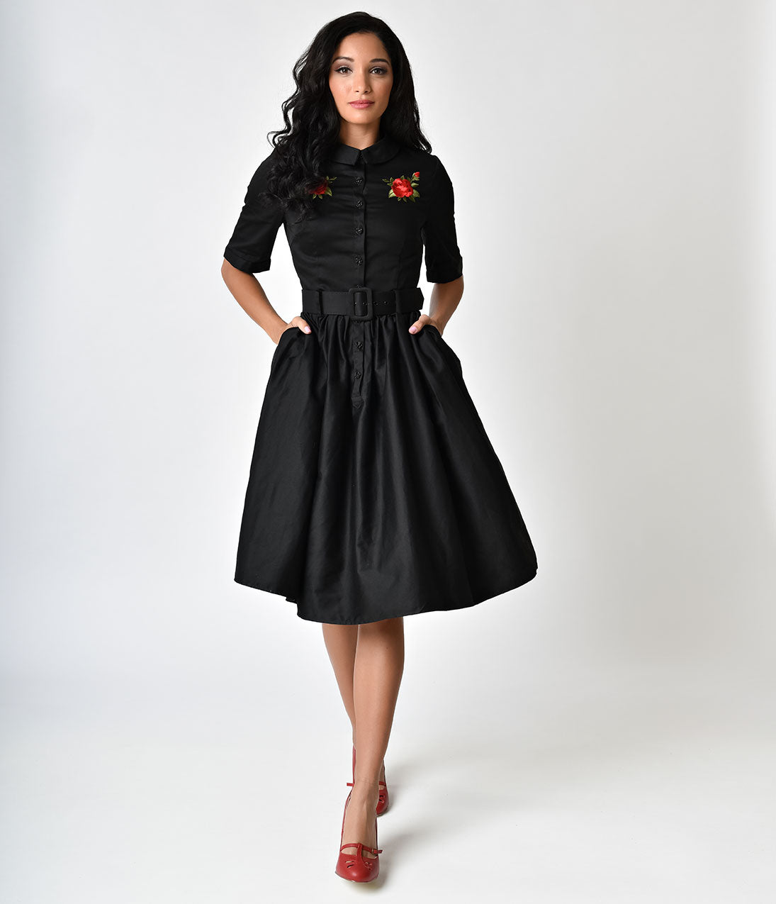 1940s & 1950s Style Shirt Dresses, Shirtwaist Dresses Collectif 1950s Style Black Rose Aria Swing Shirtdress $74.00 AT vintagedancer.com