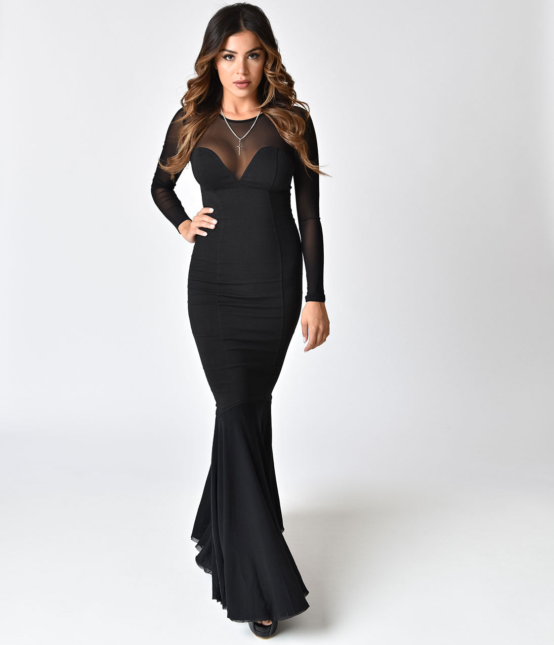 Vintage Evening Dresses and Formal Evening Gowns Collectif Black Fishtail Morticia Wiggle Gown $70.00 AT vintagedancer.com