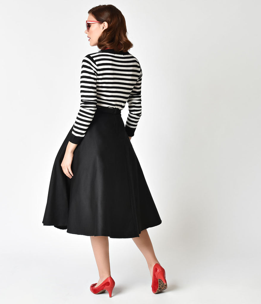 Collectif Black & Red 'Call Me' Cotton Debbie Swing Skirt