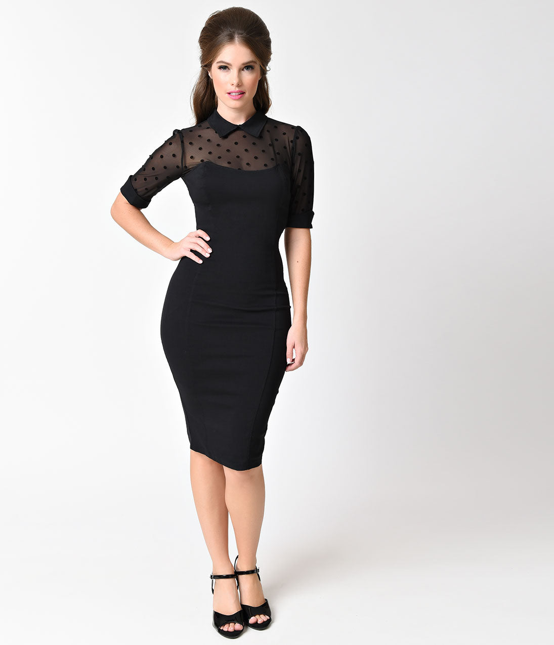 Rockabilly Dresses | Rockabilly Clothing | Viva Las Vegas Collectif Black  Sheer Swiss Dot Short Sleeve Wednesday Wiggle Dress $78.00 AT vintagedancer.com