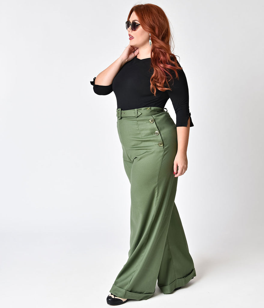 Collectif Plus Size 1940s Style Olive Green Gertrude Trousers
