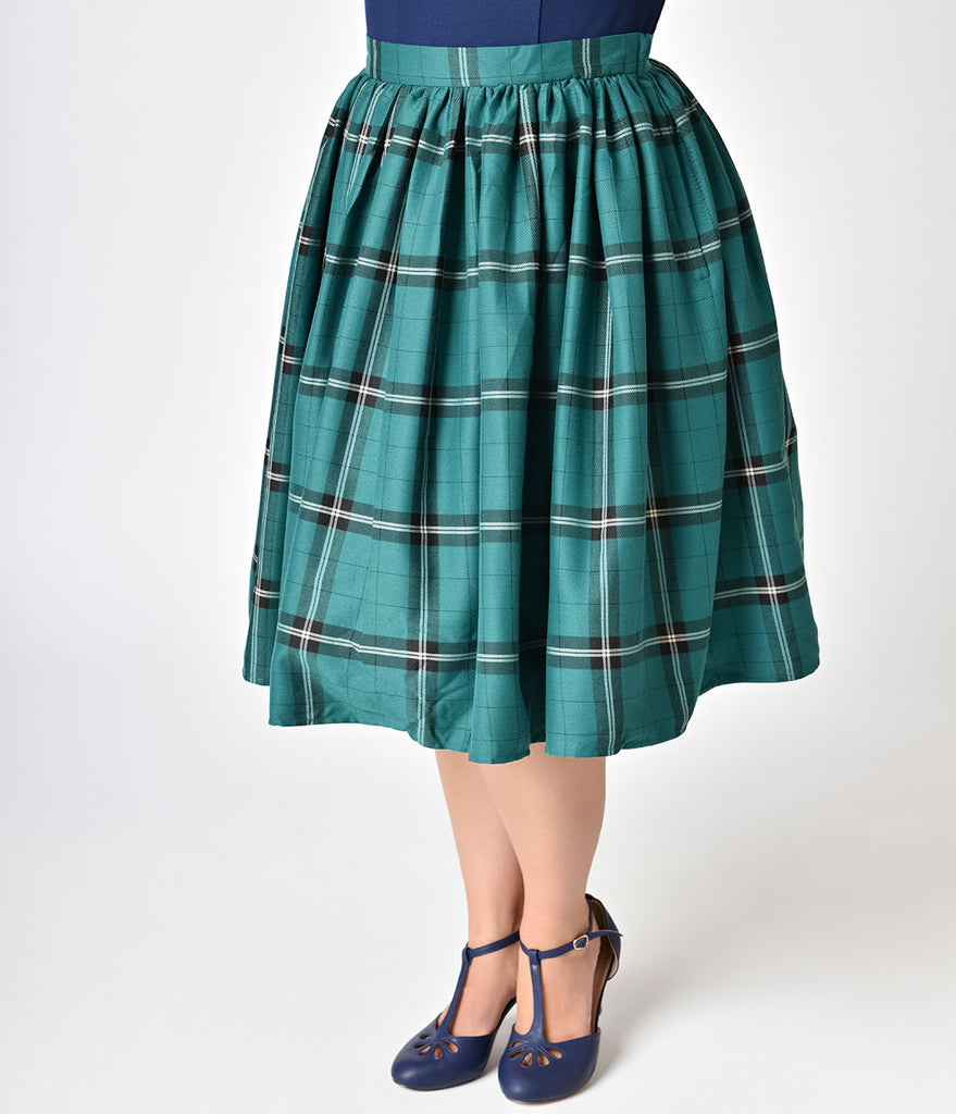 Collectif Plus Size 1950s Evergreen Check Jasmine High Waist Swing Skirt
