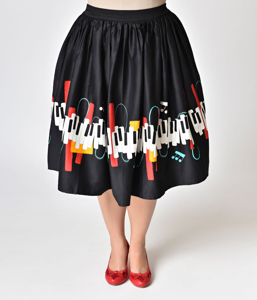 Collectif Plus Size Black & Jazz Piano Print Cotton Jasmine Swing Skirt