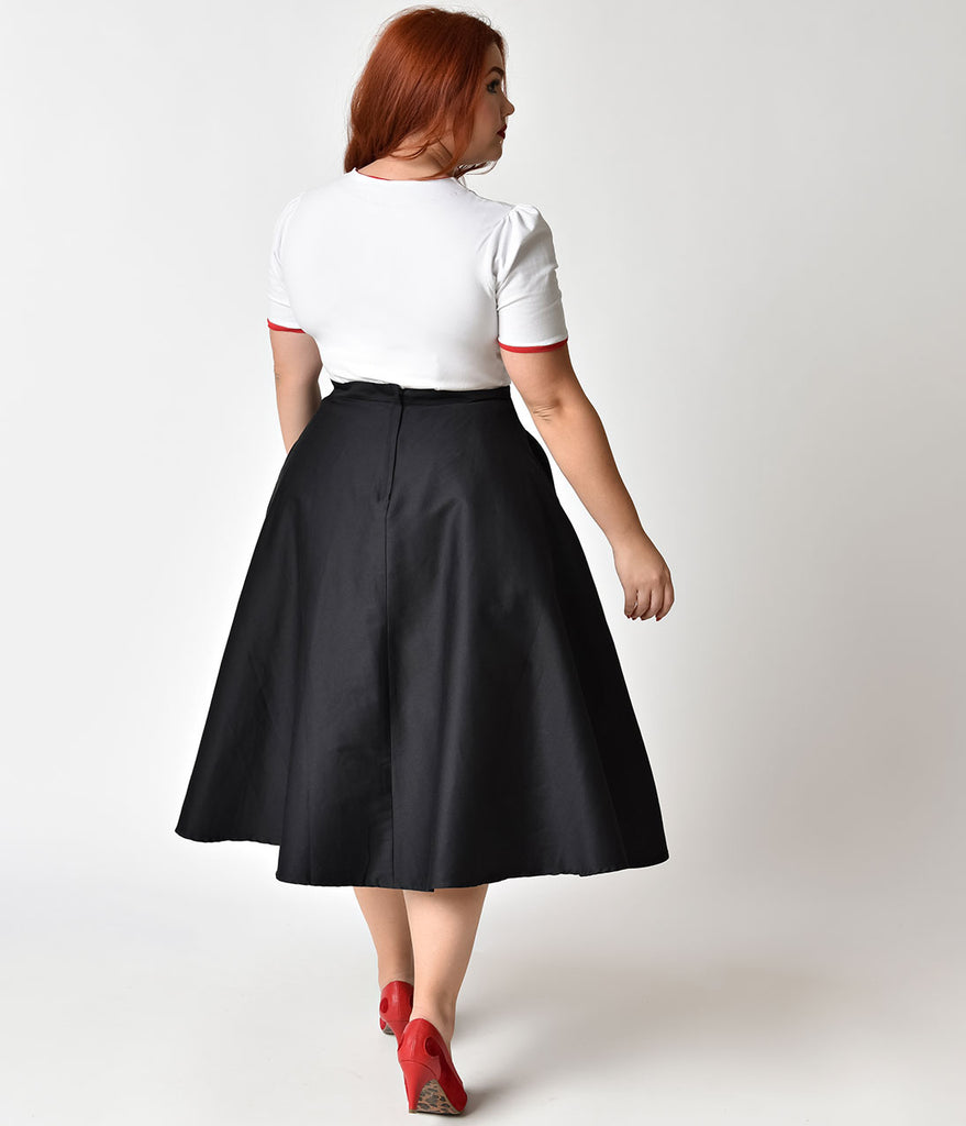 Collectif Plus Size Black & Red 'Call Me' Cotton Debbie Swing Skirt