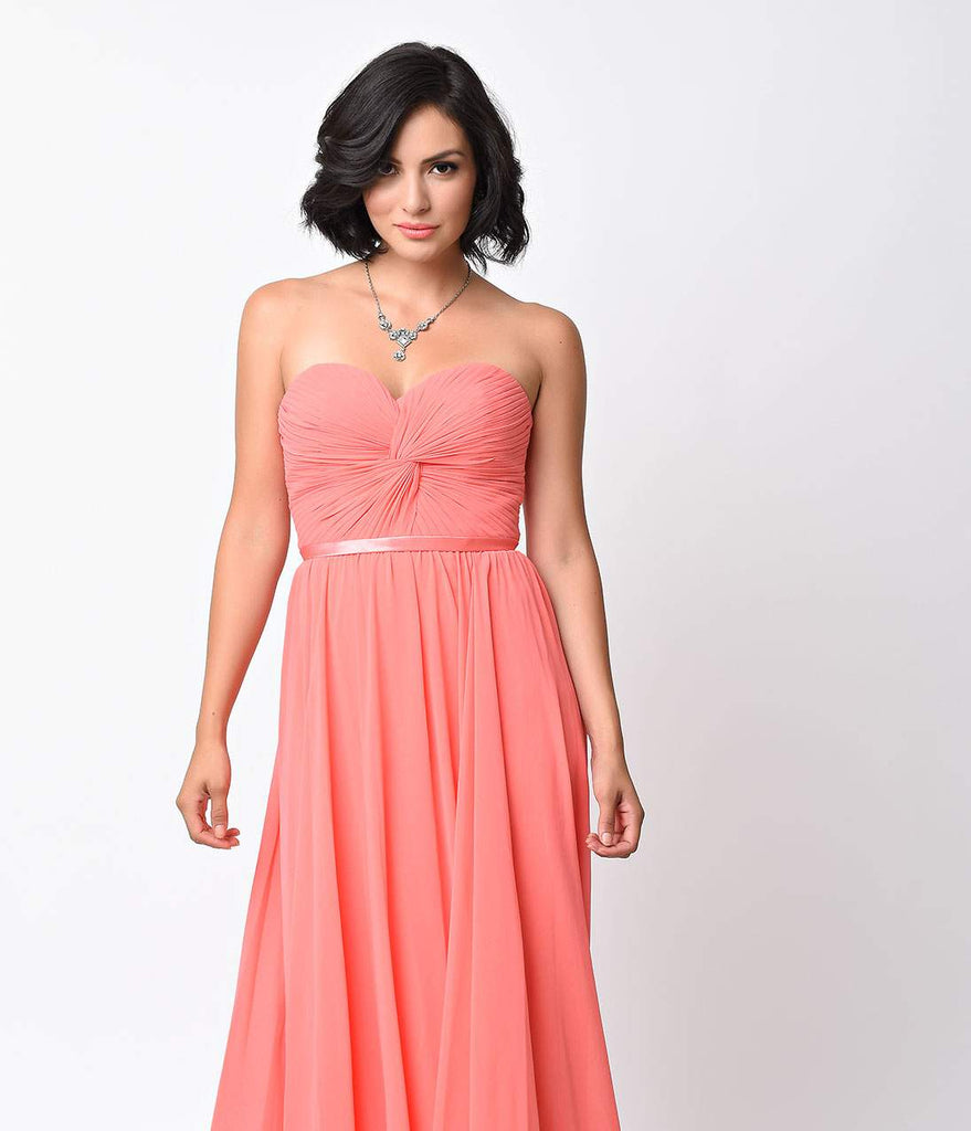 Coral Chiffon Strapless Sweetheart Corset Long Gown