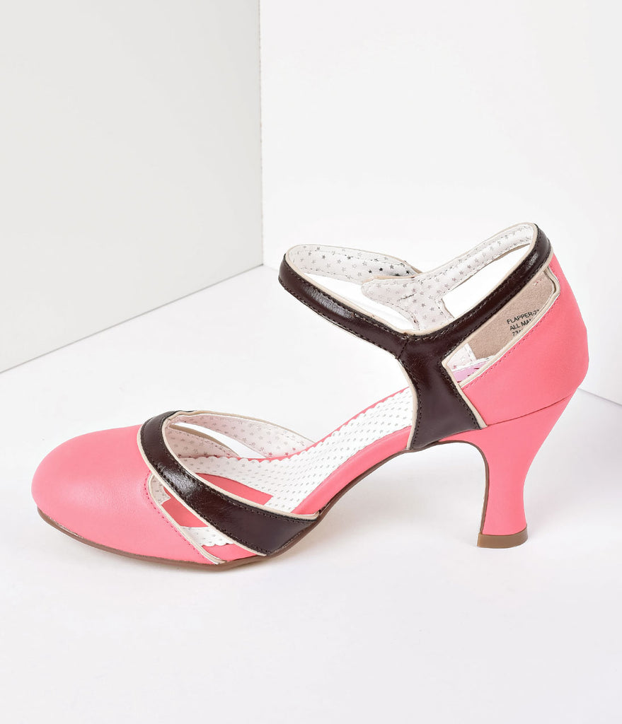 Coral Pink & Brown Leatherette d'Orsay Round Toe Pumps