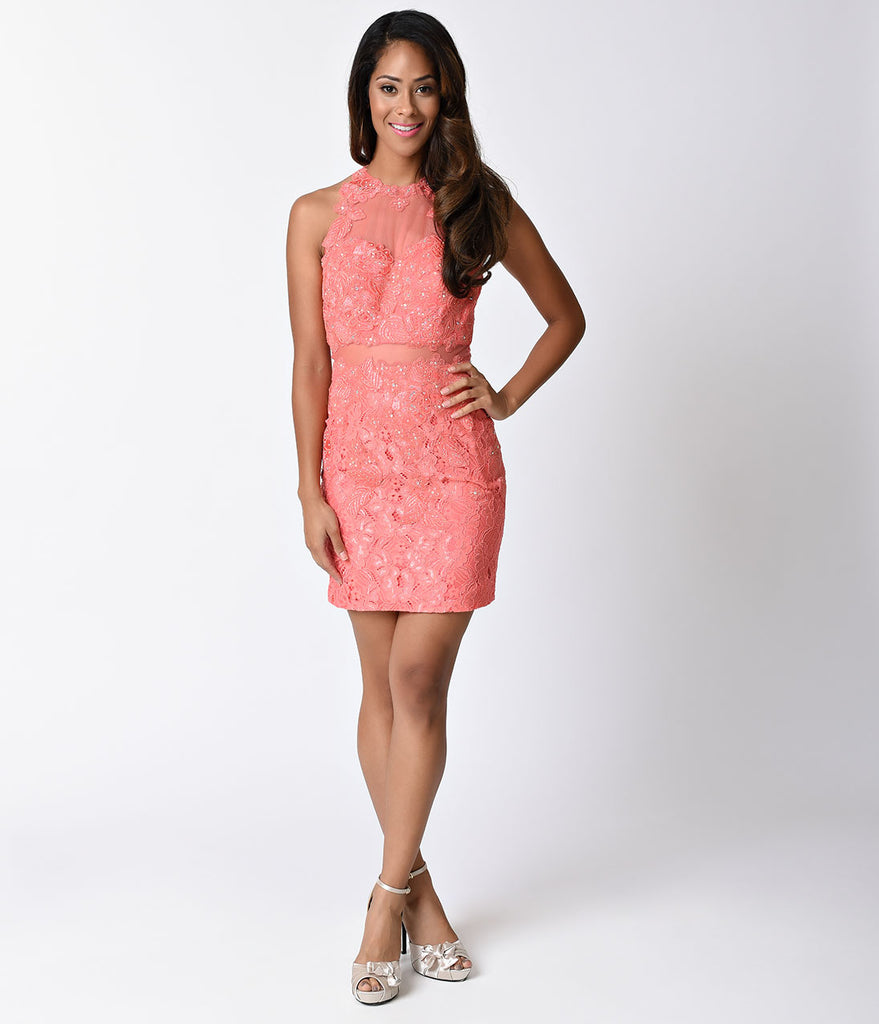 Coral Pink Lace Sleeveless Illusion Two Piece Fitted Short Dress