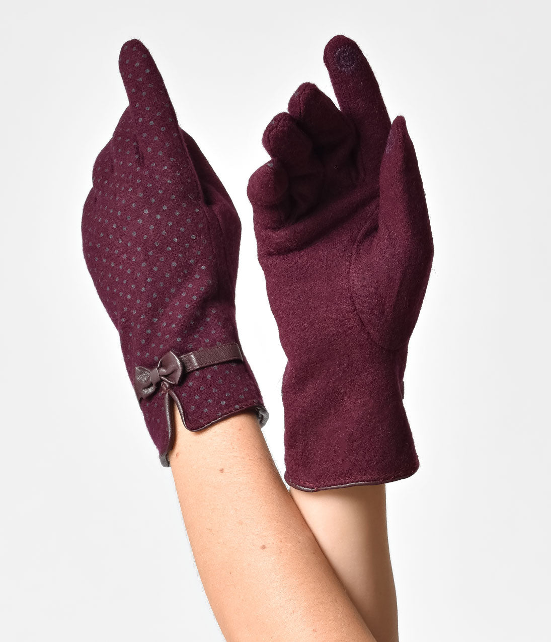 Vintage Gloves – Styles from 1900 to 1960s Cranberry Purple Wool Polka Dot Zara Gloves $30.00 AT vintagedancer.com