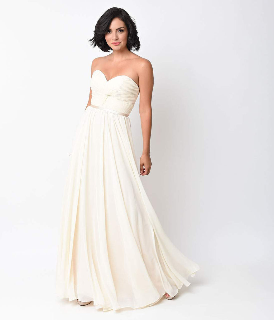 Cream Chiffon Strapless Sweetheart Corset Long Gown