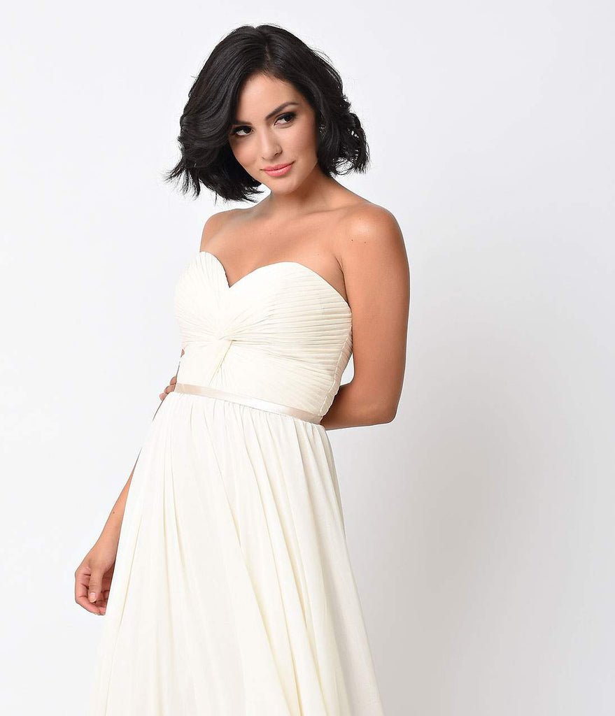 8183616966 ... Cream Chiffon Strapless Sweetheart Corset Long Gown