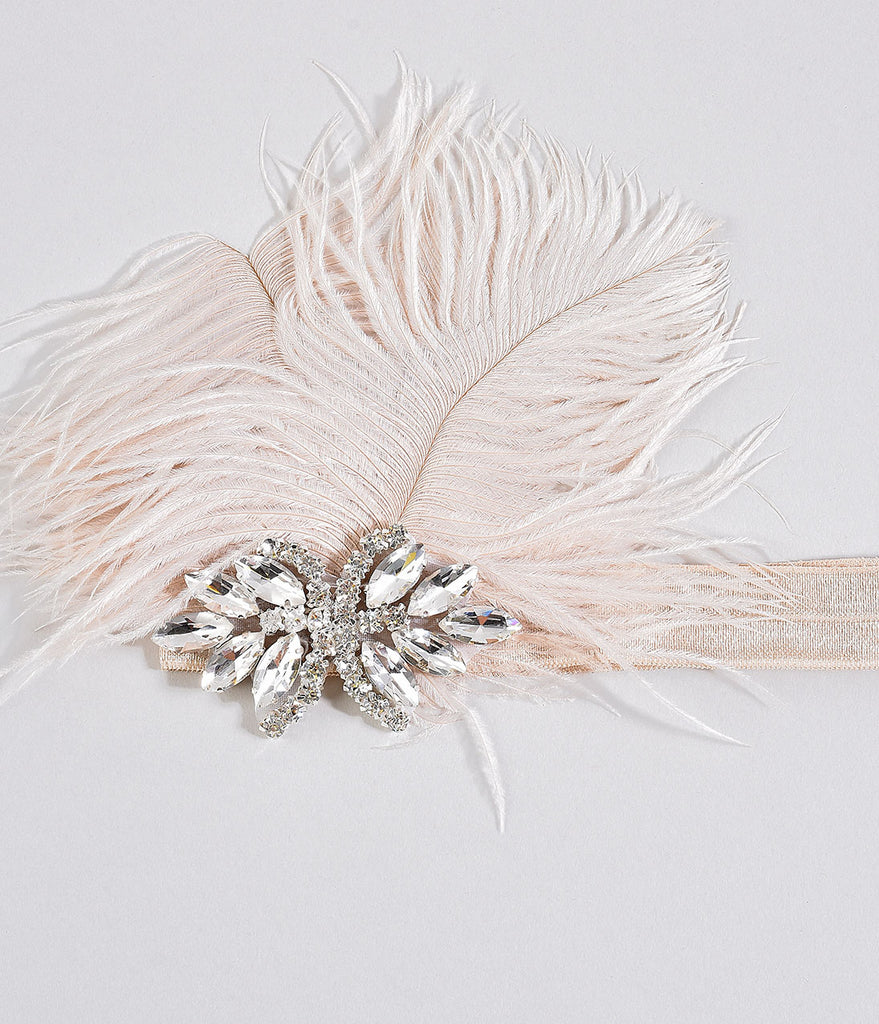 Cream Crystal Burst Olive Ostrich Feather Headband