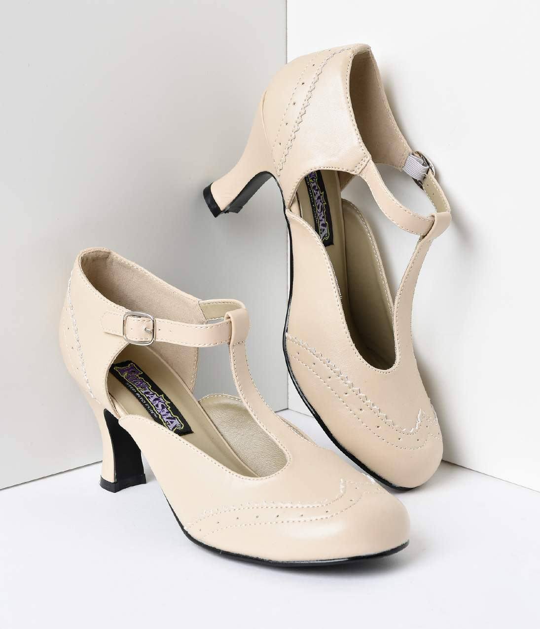 1920s Style Shoes Cream T-Strap Mary Jane Kitten Heels $68.00 AT vintagedancer.com