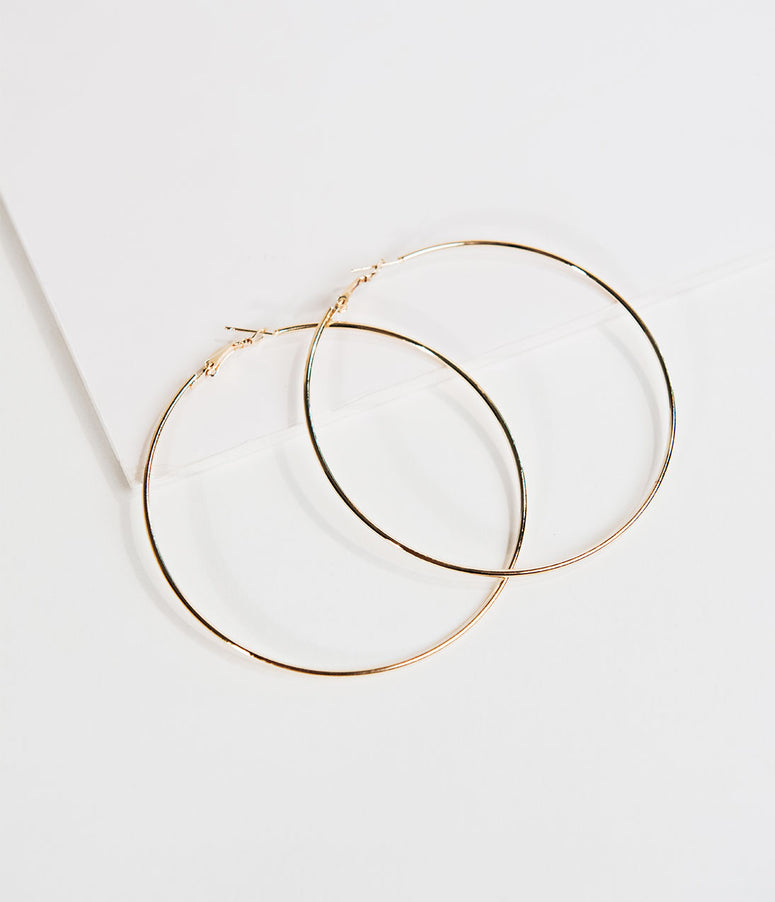 Vintage Style Large Gold Hoop Earrings