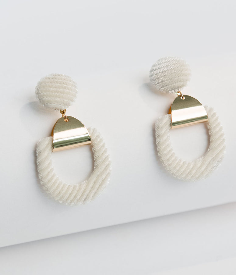 Retro Style White Velvet Corduroy Drop Earrings